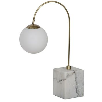 Noir Solidity Table Lamp - Marble Base - Antique Brass Finish