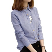 Cute Rabbit Embroidery Women Blouses 2016 Autumn Blue White Striped Blusas Fashion Long Sleeve Shirt Women Tops Camisas Mujer