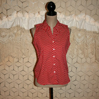 Sleeveless Button Up Summer Shirt Red White Star Print Top Cotton Blouse 4th of July Clothing Star Buttons Size Medium Womens Clothing