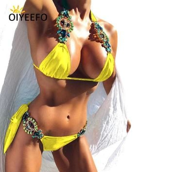 Oiyeefo Shiny Sexy Luxury Rhinestone Bikini Beach Bathers Bathing Suits Women May Yellow Swimwear Female Swimsuit Bandage Plavky