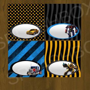 Transformers Bumblebee Printable Food Labels - Instant Download (MS word and PDF file included)