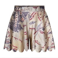 Summer Women's Fashion Stylish Print Dress Pleated Shorts [6049200065]