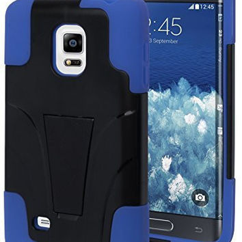 Samsung Galaxy Note Edge Blue Silicone Cover with Black  Kickstand Case