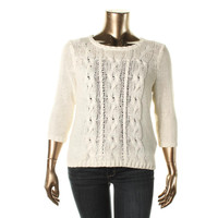 Kensie Womens Cable Knit Crewneck Pullover Sweater