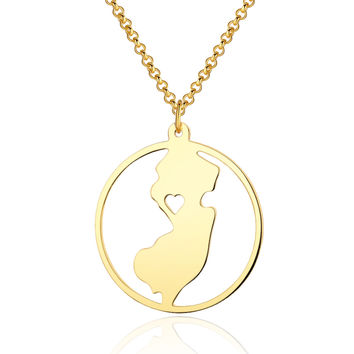 Handmade Circle New Jersey State Necklace With a heart - State Map Pendant Charm