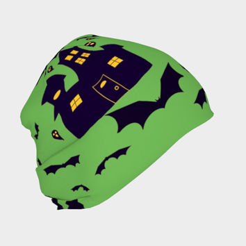Haunted House in Green, Beanie - Skull Cap, Winter or Summer, Multiple Fabric Choices, Cute Fun Baby Newborn Hat - Adult Sizes