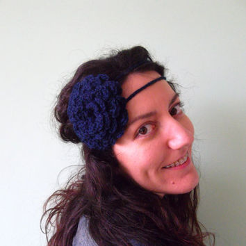 Custom Order for Feromi, Navy Blue Flower Bohemian Hair Decor, Country Girl Bandana, Rockabilly Hair Tie, Eco Friendly Wool Indigo Bandana