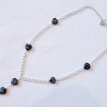 Necklace, Snowflake Obsidian, Long Silver Chain, Heart Shaped Gemstones, Silver Plated Chain and Toggle Clasp