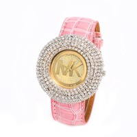 MK Fashion Diamonds Leather Watch Masonry Watches Business Watches