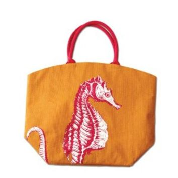 Two's Company Colorful Reef Burlap Jute Tote Beach Bag - Eco Friendly (Seahorse)