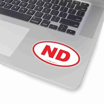 North Dakota NE Euro Oval Sticker RED