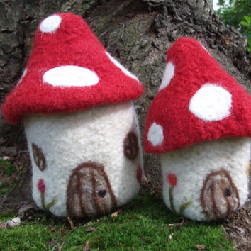 Mushroom house, toadstool spotted, hand knit and felted wool house, medium size, ready to ship!