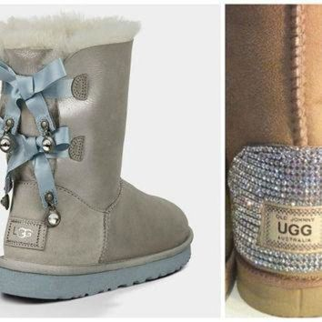 ICIK8X2 Swarovski Crystal Embellished Limited Edition Bailey Bow Uggs - Winter / Holiday Bling