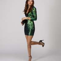 Green Countdown Till Midnight Sequin Dress