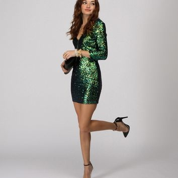 Pre-order: Green Countdown Till Midnight Sequin Dress