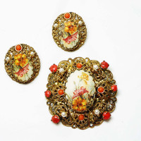 Gold Filigree Flower Cameo - Vintage Brooch & Earrings Set - Western Germany Demi Parure - European Jewelry