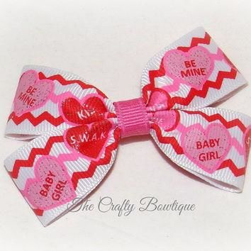 Conversation Hearts ~ Small Boutique Hair Bow ~ Red, Hot Pink and White ~ Valentine Ha