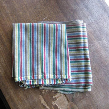 2 Pieces 1960s Striped Upholstery Fabric; Multicolor with Red/Blue/Green/Yellow Midcentury Fabric