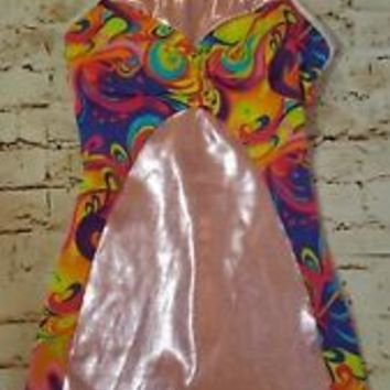 Capezio Leotard Girls Metallic pink Foil NWOT New M Medium 8 biketard shorts