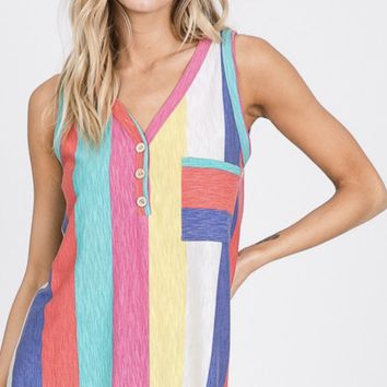 Summer Stripes Tank in Yellow