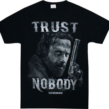 WALKING DEAD RICK GRIMES TRUST NOBODY Adult T-Shirt S-3XL