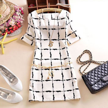 2016 Women Summer White Casual Slim Fit Plaid Print Fashion O-Neck Dress Vestidos Short Sleeve Polka Dots Sexy Mini Dresses