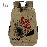 Japan print cartoon unisex NARUTO Gaara backpacks preppy lovers NARUTO Gaara school student backpacks bags