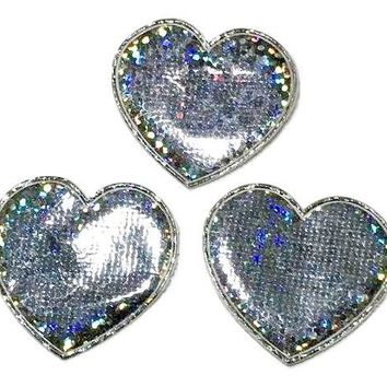"""Silver holographic heart 1 3/8"""" padded appliqué"""
