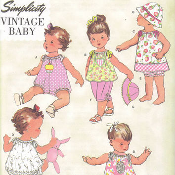 Simplicity Vintage Baby sewing pattern 1813, Baby size XXS to L, Dress, Romper, Panties, Pants, Top, Hat