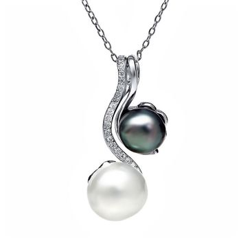 "2 Tone Cultured Freshwater Pearl Pendant With 925 Sterling Silver 18"" Chain"