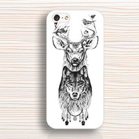 wolf head,iphone case, deer head,iphone 5c case,iphone 5s case,wolf iphone 5 case,deer iphone 4 case,iphone 4s case,wolf and deer head case