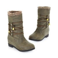 New Fashion Women Ankle Boots Rome Female Snow Boots Low Heels Winter Shoes Lace-up Rivets Botas Femininas