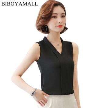 BIBOYAMALL Women Blouses 2017 Casual Elegant OL Chiffon Blouse Loose Sleeveless Work Wear Blusas Feminina Tops Shirts Pink/Black