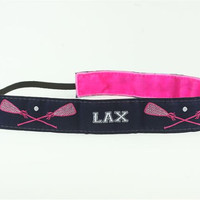 Lacrosse Hot Pink Navy LAX 1 wide by GirlSportsBands on Etsy