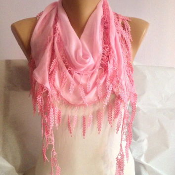 Pink Lace Scarf - Baby Pink Scarf -  Pink  Weddings - Bridesmaid Scarf - Lightweight Cotton Scarf -  Cotton Candy - Leaf Scarf