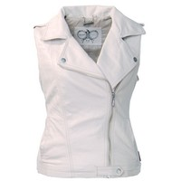 Thooo Women's Cool Motorcycle Beige Faux Leather Sleeveless Jacket Tank Vest