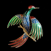 Beautiful Crown Trifari Bird of Paradise Brooch