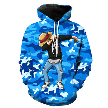 Dabbing Monkey D. Luffy Blue Camouflage One Piece Hoodie