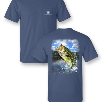 Finn Stone Apparel Big Bass Fish Fishing Comfort Colors Pocket Unisex Frass Bright T Shirt
