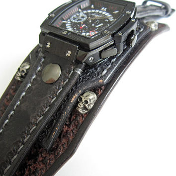 Steampunk Watch For Men, Mens Cuff Watch, Gothic Wristwatch, Skull Watche, Black and Brown Watch Cuff