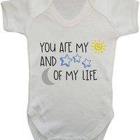 You Are My Sun And Stars, Moon Of My Life Cute Quote Print With Metallic Detail Baby Onesuit Vest