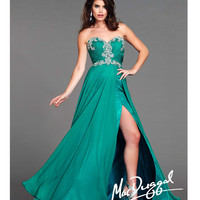 (PRE-ORDER) Mac Duggal 2014 Prom Dresses - Teal Chiffon & Bead Embellished Prom Gown