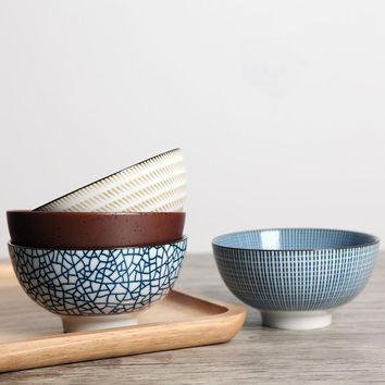 4pcs/set Japanese Traditional Style Ceramic Dinner Bowls Porcelain Rice Bowls with Gift Box Dinnerware Set Best Gift