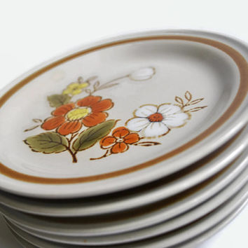 Mountain Wood Collection Trellis Blossom Set of 6 Bread and Butter Plates