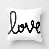 Love letter - black and white lettering Throw Pillow by Allyson Johnson | Society6