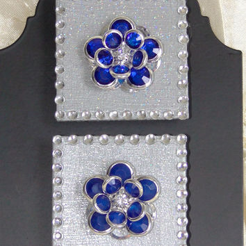 Decorative Wood Magnets With Sapphire Blue Rhinestone Embellishments and a Rhinestone Border Hand-Painted Silver Set of 2