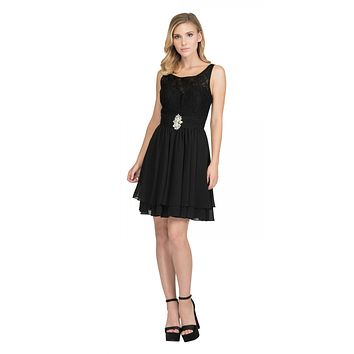 Starbox USA S6146 Sleeveless Bateau Neck Lace Bodice Short Bridesmaids Dress Black