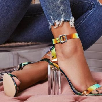 Hot style sells crystal and illusion colorful snake pattern sandals