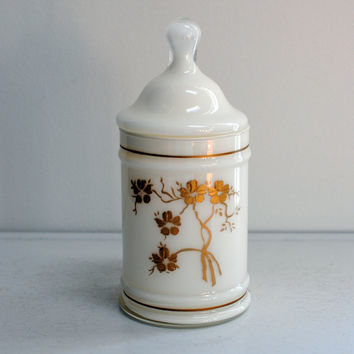Vintage blown glass hand painted white apothecary jar with gold gilt details