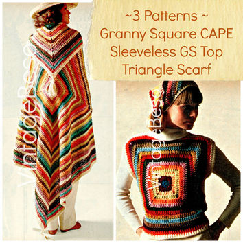 EASY CROCHET PATTERNS Instant Download Pdf Hippie Boho Granny Square Cape Sleeveless Granny Square Top Triangle Scarf 1970s Vintage Beso